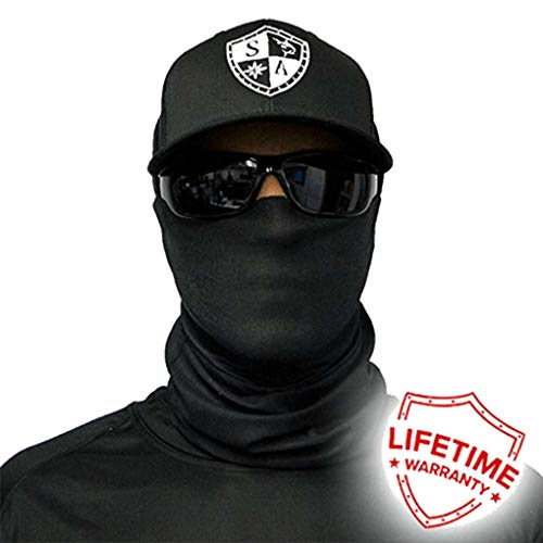 SA Company Face Shield Protect Wind, Dirt and Bugs. Keep Warm. Worn as a Balaclava, Neck Gaiter, Head Band, Doo RAG For Hunting, Fishing Running, Boating Cycling and Salt Lovers. - Tactical Black