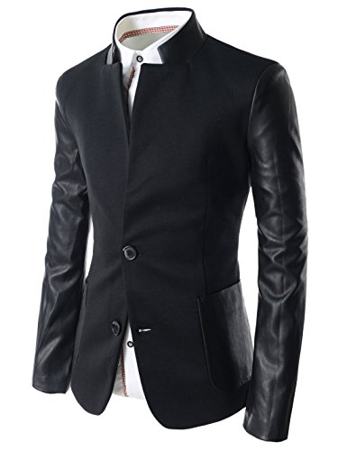 TheLees Mens Slim Leather Patched 2 Button Blazer