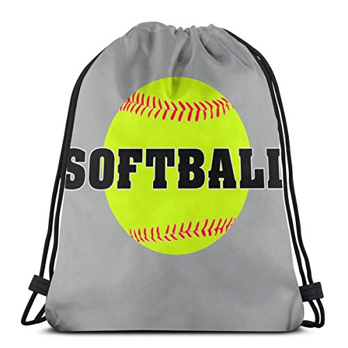 Gym Drawstring Bags Softball Lightweight Canvas Shoulder Bag Dance Bags Backpack Sport Sackpack ()