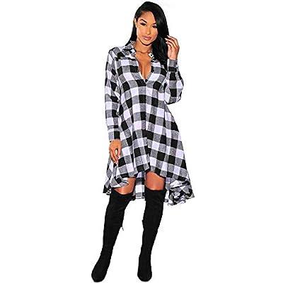 Gergeos Fashion Dress Women Long Sleeve Plaid Irregular Button Down Collar Shirt Mini Dress