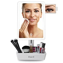 Fancii LED Lighted Large Vanity Makeup Mirror with 10X Magnifying Mirror - Dimmable Natural Light, Touch Screen, Dual Power, Adjustable Stand with CosmeticOrganizer