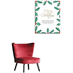 "longbuyer Art Stickers Merry Christmas Card Template with Holly Mural 24""x36"""