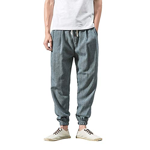 BingYELH Men's Drawstring Casual Beach Trousers Linen Summer Pants Elastic Waist Lounge Pajama Jogger Loose Fit Yoga Pants Blue