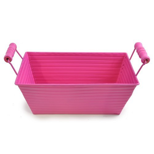 The Lucky Clover Trading Ribbed Metal Tray Basket, Pink (Card Basket)