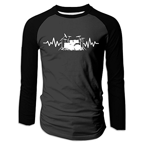 Men's Heart Beat Drum Set Printed Long-Sleeve (Drum Set Mens T-shirt)