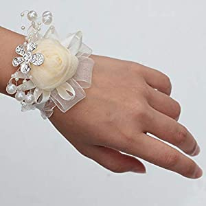 DOTKV Artificial Wrist Silk Flower Boutonniere Wrist Bouquet Corsage Flower with Peal and Diamond for Wedding Decor,Cocktail Party (Ivory_Wrist) 20