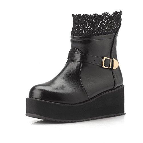 AgooLar Damen Mittler Absatz Rein Rund Zehe Blend-Materialien Ziehen auf Stiefel, Schwarz, 37
