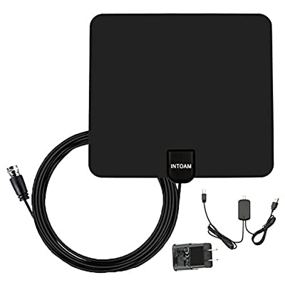 Indoor HDTV Antenna - 50 Miles Long Range Amplified Digtial TV Antenna with Detachable Amplifier for TV - 10ft Coax Cable