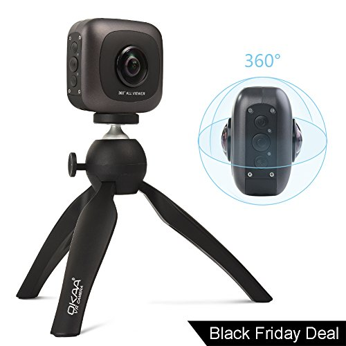 OKAA VR 360 Camera, Wireless Panoramic Camera IPX4 Waterproof with Dual Wide Angle Fisheye Lens for Android and iOS (Black) by OKAA