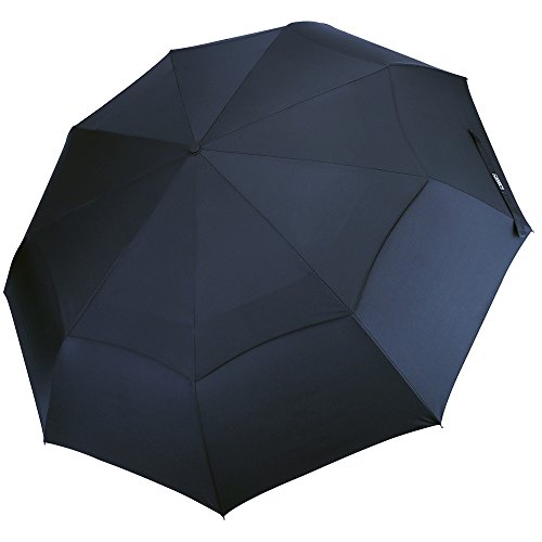 G4Free Compact Folding Golf Umbrella Blue Windproof Travel Umbrella 48 Inch 9 Ribs Double Canopy Vented with Auto Open Close for Men Women Travel - Sturdy, Portable, Larger Than Normal(Navy Blue)