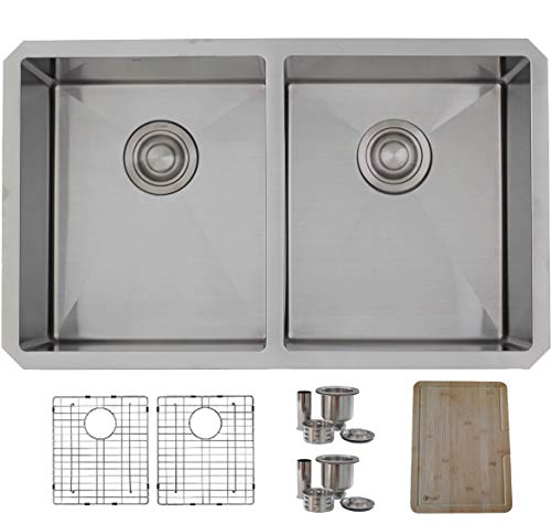 (STYLISH 30-Inch Undermount Kitchen Sink Double Bowl 16 Gauge Stainless Steel Handmade Kitchen Sink,Grids, Strainers and Bamboo Cutting Board, S-304XGB)