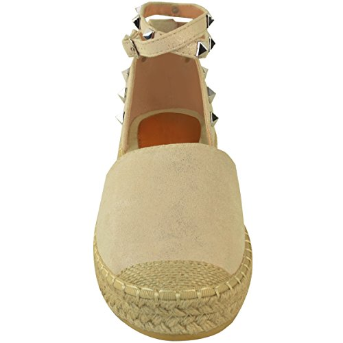 Sandals Wedge Thirsty Suede Espadrilles Womens Fashion Platform Shoes Summer Strappy Ankle Faux Size Nude dXqxwtwH