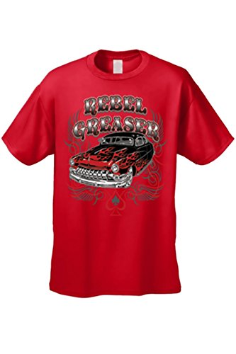 SHORE TRENDZ Men's T Shirt Rebel Greaser Short Sleeve Tee: Red (5XL) (Cotton Flags Confederate)