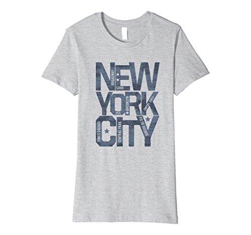 Womens New York City NYC Souvenir Unisex Premium Graphic T-shirt Large Heather - City York New Broadway Avenue