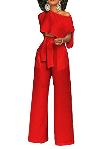 Henraly New Design Women Short Sleeve Crop Tops Wide Leg High Waisted Long Pants 2 Piece Outfit,Small,Red ()