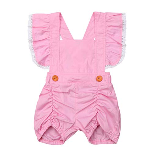 Mubineo Toddler Little Girl Kids Summer Ruffle Overall Shorts One Piece Outfit Romper Clothes (Pink, 5T) for $<!--$3.98-->