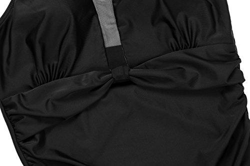 mujer para alto larga Monokini XL Traje S pieza de o adelgazante cuello ba de manga negro de espalda sin 1 ZwU0YgUq