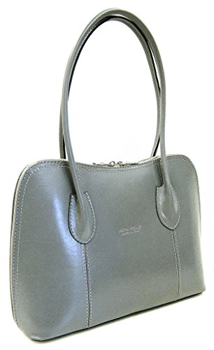 or Bag Leather Italian Style Tote Smooth Coffee Shoulder Light Grab Shiny Bag Classic q0B8qnUw