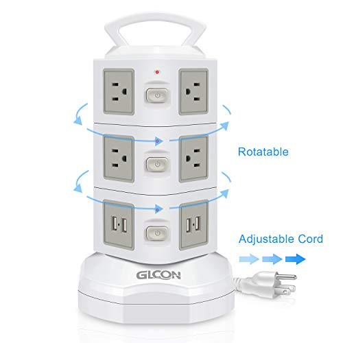 Power Strip Surge Protector - GLCON Power Strip Tower with 4 USB Slot + 10 Outlet Plugs + 6ft Long Extension Cord - Universal Charging Station Vertical Socket for Electric Appliance Device (White) ()