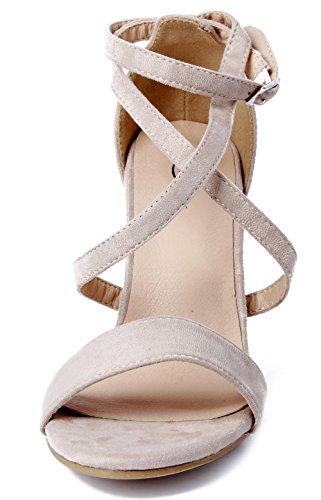 Chaussures Shoes AgeeMi Abricot Peep Suède Femmes Talon Toe Sandales Boucle Bloc Soirée vO64qO