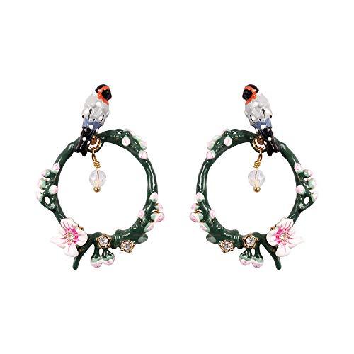 Ladies New Arrival Exquisite Handmade Vivid Multi Colored Enamel Little Bird, Sterling Silver Hoop Stud Earrings for Women, Vintage Real -