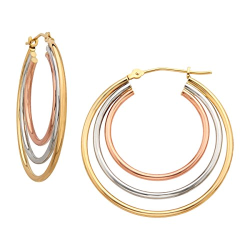 Eternity Gold Triple Hoop Earrings in 14K Three-Tone Gold