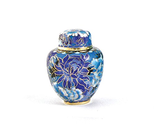 OneWorld Memorials Floral Blossoms Bronze Keepsake Urns - Extra Small - Holds Up To 5 Cubic Inches of Ashes - Cloisonne Blue Cremation Urn for Ashes - Engraving Sold Separately (Cloisonne Keepsake Cremation Urn)