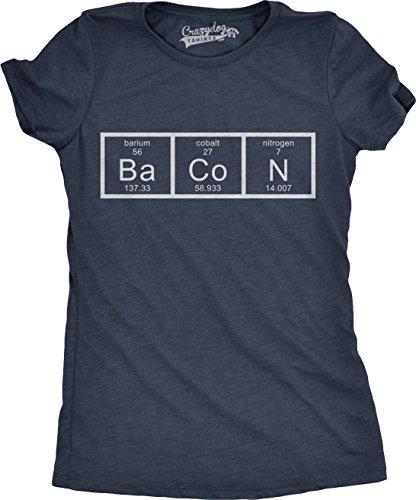 Crazy Dog TShirts - Womens Chemistry of Bacon T Shirt Funny Periodic Table Tee For Ladies - Camiseta Para Mujer azul marino