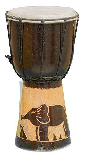 30cm Anfänger Djembe Trommel Bongo Drum Buschtrommel Afrika-Style handgeschnitzt aus Mahagoni Holz Elefant 4
