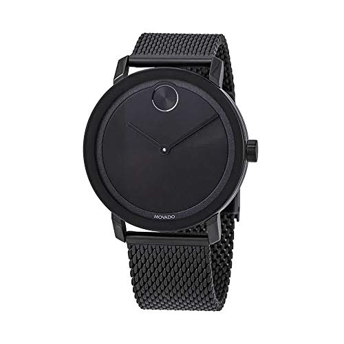 Movado Bold Black Dial Men's Stainless Steel Mesh Watch 3600562