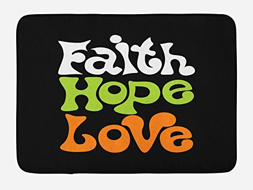 Ambesonne Hope Bath Mat, Vintage Sixties Inspired Hand Lettering Faith and Love Message with Religious Themes, Plush Bathroom Decor Mat with Non Slip Backing, 29.5 W X 17.5 W Inches, Multicolor by Ambesonne