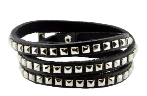 Leather Silver Tone Metal Stud Simple Elegant Wrap Around Bracelet (Black)