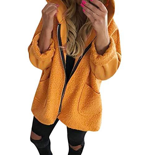 YOcheerful Women Overcoat Coat Gilet Fleece Hooded Jacket Long Sleeve Outerwear (B-Yellow,S)