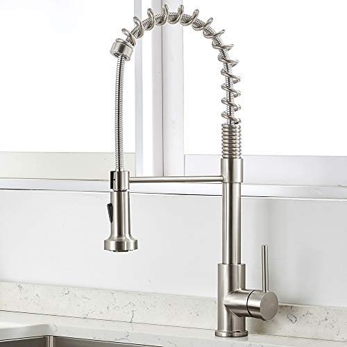 VAPSINT Stainless Steel Spring Brushed Nickel Mixer Pre Rinse Pull Down Sprayer Single Handle Kitchen Faucet, Pull Out Kitchen Sink Faucet
