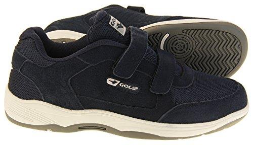 Gola Herre Ama202 Sort Velcro Ægte Læder Bred Pasform Ee Sneakers Flåde Ruskind Velcro 3ary3o