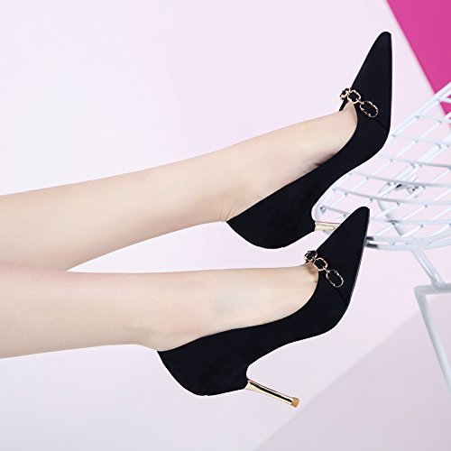 Work Heeled Tip Wild High Single Shoes Shoes 8Cm Fine Metal Spring Leisure Women'S Lady 36 MDRW Followed Elegant Port Shoes Black Light Chain Shoes Work EOwqZpa