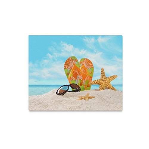 Canvas Print Valentine's Day Gifts Sunglasses Flip Flops Starfish On Beach Design Modern Wall Art for Home Room Office Decoration (20x16 - Nc Charlotte Sunglasses