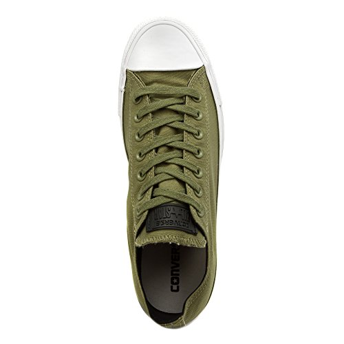 Converse Mens Chuck Taylor All Star Sköld Canvas Oxe Mode Sneaker Sko Trötthet Grön / Vit / Röd Signal