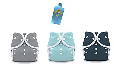Thirsties Duo Wrap Snaps Diaper Covers 3 pack Combo: Fin (Gray), Aqua, Midnight Blue Sz 1
