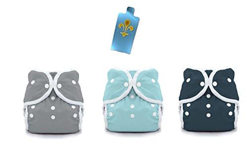 Thirsties Duo Wrap Snaps Diaper Covers 3 pack Combo: Fin (Gray), Aqua, Midnight Blue Sz 2 (Snap Diaper Duo Wrap)