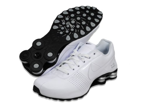Nike Mens Shox Deliver White / White / Metallic Silver / Black Leather Running Shoes 9 M US