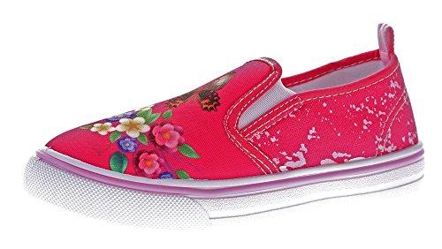 Slobby Kinder Leinen Schuhe Jungen Mädchen Slipper Hausschuhe Gummizug Kita Stoff Halbschuhe Gr. 31-36 Fuchsia