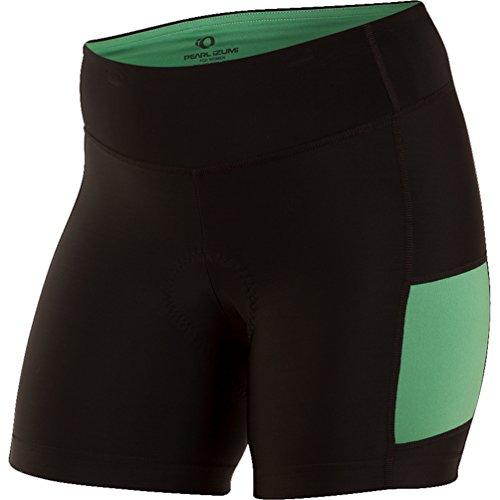 PEARL IZUMI Women's Escape Sugar Shorts, Black/Green Spruce, X-Small