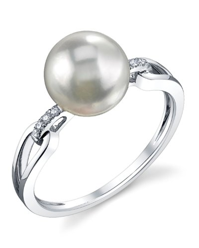 THE PEARL SOURCE 14K Gold 8.5-9mm Round Genuine White Akoya Cultured Pearl & Diamond Holly Ring for ()