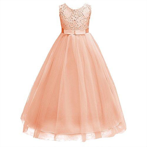 b6419022e4 Girls Tulle Lace Flower Wedding Bridesmaid Dress Floor Length Princess Long  A Line Pageant Formal Prom Dance Gown