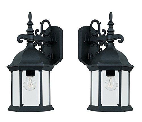 Designers Fountain 2971-BK Devonshire Wall Lanterns, Black (Black - 2 Pack)