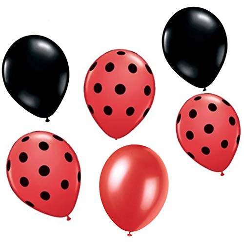 60 Ct Ladybug Red Black Polka Dot Balloon for Themed Party Boy Girl First 1st Birthday Decoration Baby Shower Supplies ()