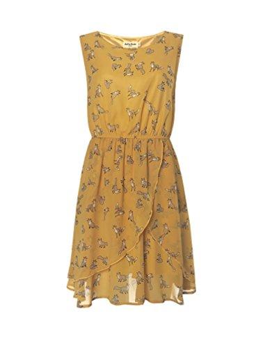 "LaVieLente Women's Sleeveless Golden Yellow Tulip Hem The ""Fantastic Mr. Fox"" Dress with Fox Print (Yellow, Medium/Large)"