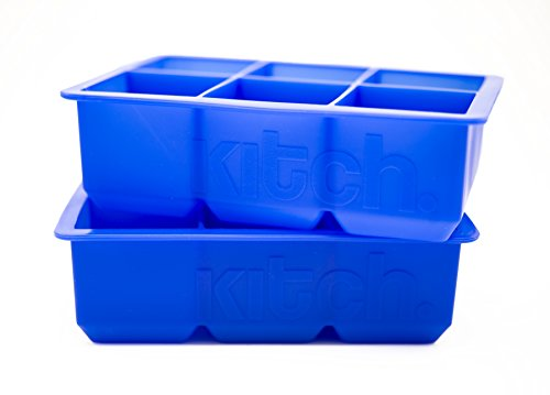 Large Cube Silicone Ice Tray, 2 Pack by Kitch, Giant 2 Inch Ice Cubes Keep Your Drink Cooled for Hours - Cobalt Blue (Tovolo Ice Cube compare prices)