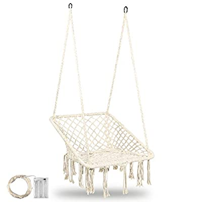 "X-cosrack Hammock Chair with Lights - Cotton Square Shape for Patio Bedroom Balcony (Stand NOT Included) - [Square Ergonomic Design]: (Stand NOT Included), More comfortable than the round, you can use it for reading, chatting, sun-bathing, or just to enjoy the beauties of nature, the sound of rain, bird chirping, etc. Come with 12m/39FT LED Light with 120 LED Lamps. Powered by 3*AA battery(Not inlcuded), stand not include. [Handmade Cotton]: 270 lbs capacity, 100% handmade cotton and iron tube with white painting, Hand wash. with dimension of 25.7 ""L X 21.6"" W X 50""H (Height without rope is 17.9""), very safe for adults and children. [For Indoor & Outdoor]: Great addition to balconies, backyards, bedroom, sunroom, kid's room, living room, and more. - patio-furniture, patio, hammocks - 41 m2Rwv8LL. SS400  -"